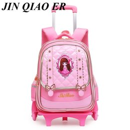 d97acbd08391 Removable Children School Bags 2 Wheels and 6 Wheels Stairs Kids girls Cute  Trolley backpack Luggage Book Bags travel Bookbag