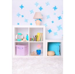 Discount bookshelf backdrop - Laeacco Windmill Baby Party Wall Bookshelf Gift Table Lamp Indoor Photo Backdrop Photographic Background Photocall Photo
