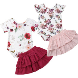 Bodysuit Tutu Clothes Australia - Newborn Baby Girls Clothes Set Floral Spring Long Sleeve Bodysuit Tops Jumpsuit Tutu Skirts Costume Suit Outfis Clothing Outfit