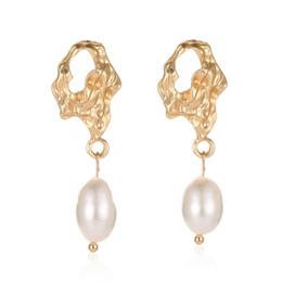 Chinese  Irregular Geometric Pearl Earrings for Women Korean Retro National Style Pleated Fashion Dangle Earrings Accessories Jewelry manufacturers