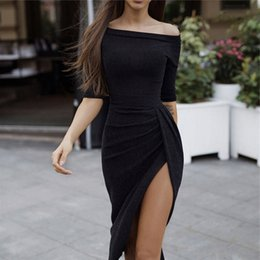 kimono plus NZ - Uvkkc Women Party Dress 2018 Autumn Femme Vestido Off Shoulder High Waist Split Bodycon Solid Sexy Dresses For Women Plus Size Y19051001