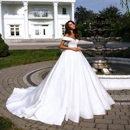 $enCountryForm.capitalKeyWord Australia - Elegant Pure White Satin A-Line Wedding Dresses With Folden V-Neckline Off The Shoulder Bridal Gowns Sweep Train