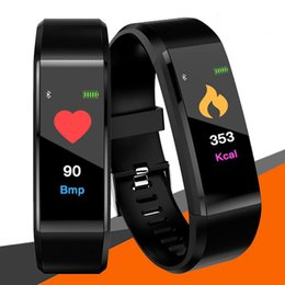 vehicle trackers UK - Wholesale ID115 Plus Smart Band Bracelet Color LCD Screen Fitness Tracker Pedometer Heart Rate Blood Pressure Monitor Bands Wristband
