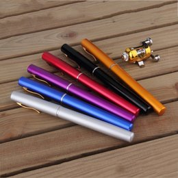 pen wheels Canada - Portable Pocket Telescopic Mini Fishing Pole Pen Shape Folded Fishing combinRod With Reel Wheel Combination set with fishing rod