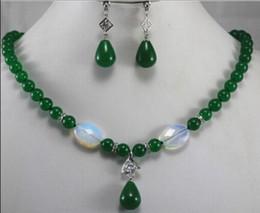 $enCountryForm.capitalKeyWord Australia - jewelry New Design 8mm Green Dangle  Crystal Earring Necklace Pendant Jewelry Set Natural jewelry