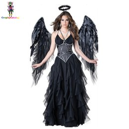 Wholesale women costumes black angels resale online - Adult Women Halloween Evil angel Costume Black Party Masquerade Cosplay Dresses Scary Mage Uniforms wigh Wing