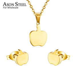 Fruits Earrings Wholesale Australia - ASONSTEEL 316L Stainless Steel Gold Color Jewelry Sets For Women 2019 Silver Fruit Pendant Necklace Small Earrings For Femme