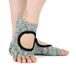 Discount pilates socks grips - Women Yoga Backless Five Toe Anti-Slip Ankle Grip Socks Dots Pilates Fitness Gym Socks Ladies Sports Camouflage