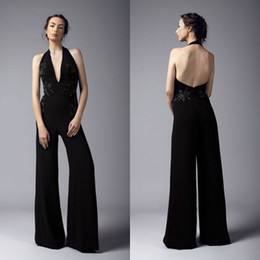 8e3e367848d 2019 Halter Black Jumpsuit Sexy Backless Embroidery Floor Length Prom Dress  Satin Pants Guest Dress Plus Size Evening Gowns Cocktail Party