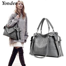Large Black Shoulder Bag Leather Australia - Yonder Brand Genuine Leather Handbags Women's Shoulder Bags Female Messenger Bag Large Capacity Ladies Casual Tote Bag Black red Y190620