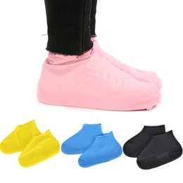 pair shoes NZ - 1 Pair Reusable Latex Waterproof Rain Shoes Covers Slip-resistant Rubber Rain Boot Black Blue Pink Shoes Protector Accessories
