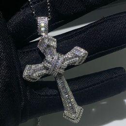 Gemstones diamond online shopping - New Choucong Luxury Jewelry Sterling Silver Pave White Topaz CZ Diamond Gemstones Cross Pendant Wedding Women Necklace for Men Gift