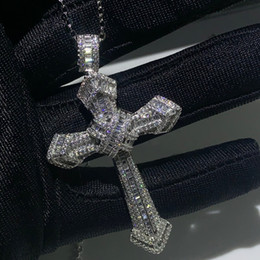 Wholesale New Choucong Luxury Jewelry Sterling Silver Pave White Topaz CZ Diamond Gemstones Cross Pendant Wedding Women Necklace for Men Gift