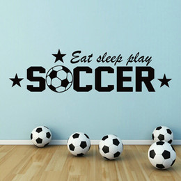 $enCountryForm.capitalKeyWord Australia - Soccer Eat Sleep Play Quote Word Vinyl Wall Decal Sticker Sport Boys Kids Room Art Painting Wall Stickers