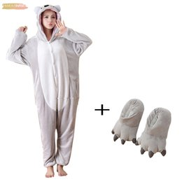 plush slippers for adults Australia - Plush Fancy Bodysuit Kigurumi Animal Pajamas One Piece Bodysuit Adult Onesie Sleepwear Bell With Slippers Cosplay Koala For Halloween