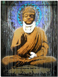 buddha oil canvas UK - BANKSY STREET ART Buddha Home Wall Art Decor Handpainted &HD Print Oil Painting On Canvas Wall Art Canvas Pictures 190827
