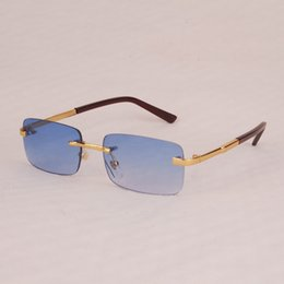 ebfbff52b423 Vazrobe Men Sunglasses Luxury Brand Wooden Leg Sun Glasses for Man Famous  Name Sunglass Rimless Fashion Anti Reflective