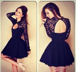 $enCountryForm.capitalKeyWord Australia - 2019 new short cocktail dresses sexy long sleeve black prom dresses open back mini lace party wear