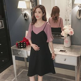 2903ffc5ee65a 808# Sweet Patchwork Chiffon Maternity Dress Summer Korean Fashion Casual  Clothes for Pregnant Women Loose Pregnancy Clothing