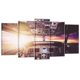 Airplane Art UK - Large Canvas Wall Art Prints Airplane Interior Cockpit View Inside the Airliner Painting 5 Pieces Drop Shipping