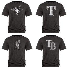 Mariners Blue Jays Baía Raios Rangers Fan Vestuário Coleção Platina Tri-Blend T-Shirt Preto Pacote de Alta Qualidade