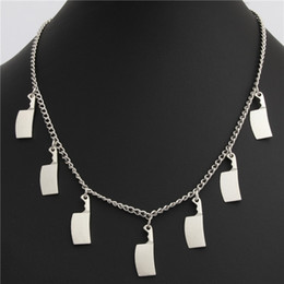 day knife UK - 1pc Tibetan Silver Kitchen Knife Necklace Choker Charms Day Of The Dead Gift Halloween Witch Jewelry Handmade E2010