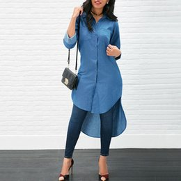 $enCountryForm.capitalKeyWord Australia - Trendy Women clothes Denim Button Solid Long Sleeve Blouses turn-down collar pocket Casual Polyester Shirts one pieces