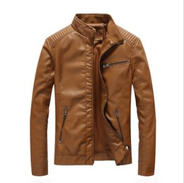 Jacket leather rock online shopping - New autumn spring mens standard Europe USA Size leather jacket black leather biker jacket Rock n roll Jacket for Man