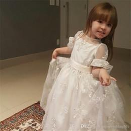 Rhinestone White Short Dress Australia - Little White Lovely Short Sleeve Mermaid Flower Girl Dresses Sheer Neck Lace Appliqued Tiered Skirts Corset Back Kids Formal Wear