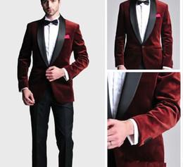 $enCountryForm.capitalKeyWord Australia - Fashionable Groom Tuxedos Groomsmen One Button Dark Red Velvet Shawl Lapel Best Man Suit Wedding Men's Blazer Suits (Jacket+Pants+Tie) K335