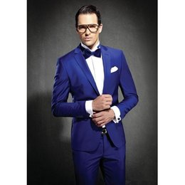 Slim Grey Suits Blue Ties Australia - Newest Slim Fit Groom Tuxedos Royal Blue Best man Suit Notch Lapel Groomsman Men Wedding Suits Bridegroom(Jacket+Pants+Tie ) J692