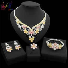 $enCountryForm.capitalKeyWord Australia - Yulaili Luxury Flower Shape Silver Plated Necklace Earrings Nigeria Wedding Dubai Gold Jewelry Sets for Women African Bangle Ring