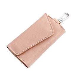 Car Key Cover Pink Australia - Multifunction Cow Leather Business Card Holder Organizer Housekeeper Keychain Wallet Portable Men Women Car Keys Bag Case Cover