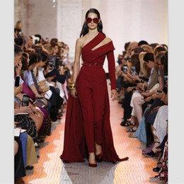 $enCountryForm.capitalKeyWord NZ - 2019 Elegant Elie Saab Wine Red Satin Jumpsuit Evening Dresses Custom Detachable Train Prom Dresses One Shoulder Women Formal Party Gowns