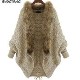 $enCountryForm.capitalKeyWord Canada - jacket autumn new women cardigan cloak shawl coat fashion bat shirt loose sweater female large fur collar fur collar Spring coat