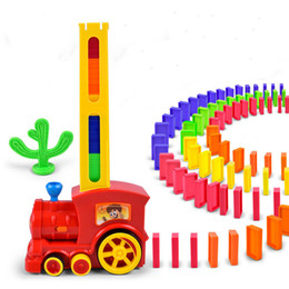 $enCountryForm.capitalKeyWord Australia - Domino Train Car Model Toys Automatic Sets Up 60pcs Colorful Domino Blocks Game with Load Cartridge Toys for Girl Boy Vip Link