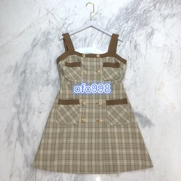 plaid suspender dress UK - high end women girls dress suspender skirt with plaid stripe pattern strap sleeveless mini a-line skirt 2020 summer fashion dresses