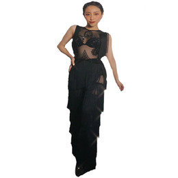 women shiny jumpsuit NZ - 2019 Women Bar night club New shiny rhinestones black sexy sleeveless mesh elastic Jumpsuit thin connected tassel stage costumes