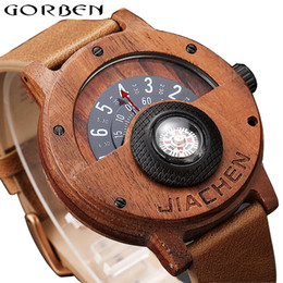unique rubber NZ - Unique Compass Turntable Number Design Mens Wooden Watch Men Brown Wood Leather Band Creative Natural Wood Wrist Watches Relogio CJ191116