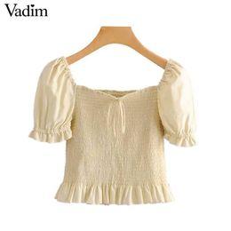 $enCountryForm.capitalKeyWord Australia - Vadim women sweet solid crop top elastic pleated short puff sleeve bow tie shirts stylish female cute blouse blusas DA482 T519053003