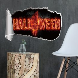 $enCountryForm.capitalKeyWord Australia - Halloween 3D Wall Decals PVC Burning Skull Sticker Murals Festival Poster for Living Room Boys Room and Bar Decor