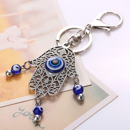 evil eye car pendant Australia - Classic Charm Amulet Hamsa Fatima Hand Evil Eye Keychains Purse Bag Buckle Pendant For Car Keyrings key chains holder women