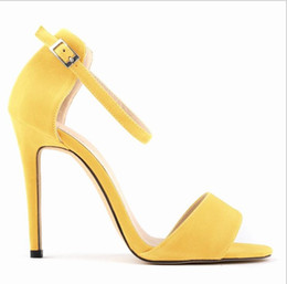 $enCountryForm.capitalKeyWord Australia - Hot Sale-Europe and America New summer womens sandals Fine heel high heels shoes 11cm Solid color Open toe Sexy Dress shoes
