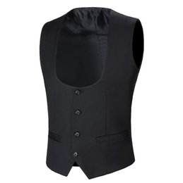 $enCountryForm.capitalKeyWord NZ - Black Men Suit Vest 4 Buttons Classic Dress Slim Fit Vests Male Sleeveless Brand Mens Formal Wedding Waistcoat