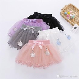 wholesale tutus Australia - INS Designs Little Girls Summer Swan Embroidery Skirt Short Dance Skirt Baby Girls Bow Tie Tutu Skirts Princess Party Wear Child Clothing