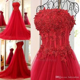 $enCountryForm.capitalKeyWord Australia - Gorgeous Red A Line Evening Dresses Strapless Applique Lace Pearls Beads Tiered Tulle Floor Length Formal Evening Party Gowns Custom