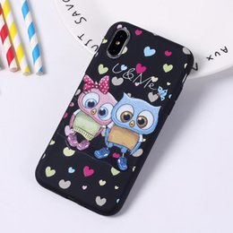 Cute Owl Phone Cases NZ - 3D Cartoon Cute Owl Couple Case for Iphone X XS MAX XR Cover for I Phone 8 7 6 6S Plus Phone Soft Silicon Tpu Luxury Designer Case 200pcs