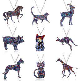 Pigs jewelry online shopping - 2018 Acrylic Animal Necklace Pet Cat Dragon Pig Bird Wolf Horse Fish Dog Necklace Women Jewelry Pendant Unicorn