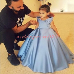 Dress baby party color reD online shopping - 2019 Off Shoulder Flower Girls Dresses Satin Sky Blue Girls Party Toddler Pageant Baby Birthday Gowns Kids Formal Wear First Communion Dress