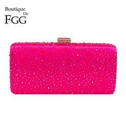 purple crystal evening clutch bag Australia - Boutique De Fgg Hot Pink Fuchsia Crystal Clutch Evening Bags Women Diamond Metal Box Handbag Wedding Party Clutches Bridal Purse J190630
